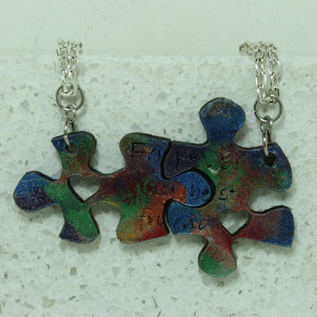 Puzzle Necklace set of 2 Forever my best friend Tye Die painted leather pendants