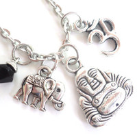 Buddha Sacred Elephant Necklace Good Luck Yoga Jewelry Om Zen Namaste Earthy Unique Gift Under 50 Item T20