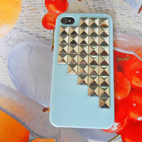 Blue hard Case cover with silver pyramid for iPhone 4 case,iPhone 4S case, iPhone 4GS case,iPhone hand case cover