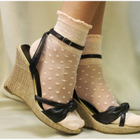 Lace and Polka dots - Oh, so sweet for your feet. super lighweight for heels and flats delicate lace pattern around your ankle womens socks