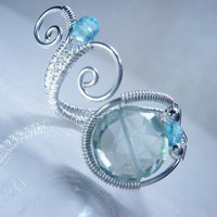 Green Amethyst and Sky Blue Topaz Adjustable Sterling Silver Ring