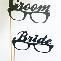 BRIDE . GROOM . Photo Booth Props - Bride Groom Glasses on 12 inch wooden sticks BASH