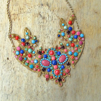 SALE - Bib necklace covered in multicolor swarovski crystals and hand painted rhinestones