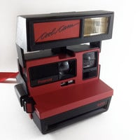 Working Vintage Polaroid Cool Cam in Red with Strap