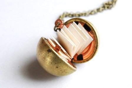 Vintage Brass Ball Locket Necklace DIY Kit by Paperface Studio