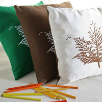 CUSHION COVERS - Autumn leaves design screen printed