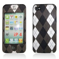"Apple iPhone 4 & 4S Snap-on Protector Hard Case Texturized ""Argyle Pattern"" Design"