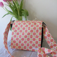 Cotton Messenger Bag, Pink Circles Shoulder Tote