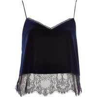 River Island Womens Navy velvet lace cami top