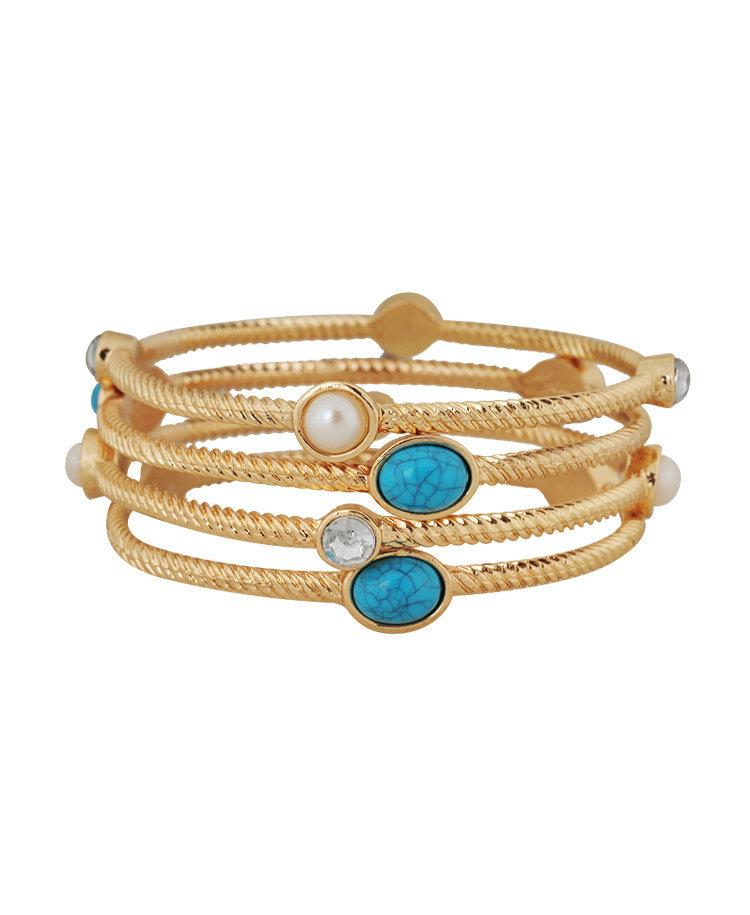 Pearlescent & Faux Stone Bangle <br>Set