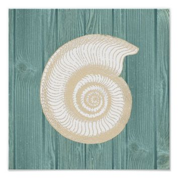 Sea Shell Vintage Aqua Wood Beach Poster