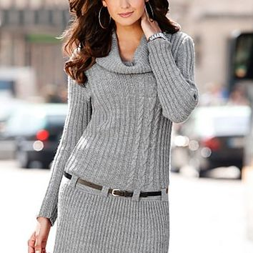 Heather Grey (HG) Belted Sweater Dress