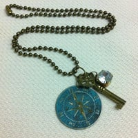 Compass Key and Rhinestone Ball Chain Necklace