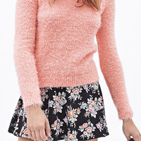 FOREVER 21 Shaggy Knit Sweater Pink