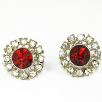 Ruby Red Rhinestone Earrings Vintage July Birthstone