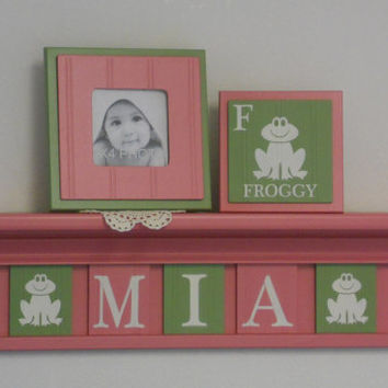 """Frog Nursery Decor, Froggy Art Wall Decor, Personalized Baby Girl Nursery Gift, 24"""" PINK Shelf with Pink and Green Plates for MIA - Froggy's"""