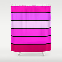 Pink & Magenta Stripes Shower Curtain by 2sweet4words Designs | Society6