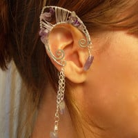Pair of Silver and Genuine Amethyst Elf Ear Cuffs, non pierced earring, Fairy, Renaissance, Elven