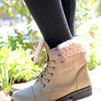 Keep Me Cozy Bootie - Taupe - TAUPE /