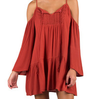 Boho Cold Shoulder Tunic Dress - Rust - Rust /