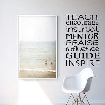 TEACH ENCOURAGE INSTRUCT Wall Decal - Classroom Decal - Teacher Decal - Gift Idea - Office - HIgh Quality Vinyl Graphic