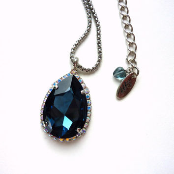 Swarovski crystal large pear pendant on rhodium chain, blue and crystal AB, Designer inspired Siggy bling, diamond like necklace