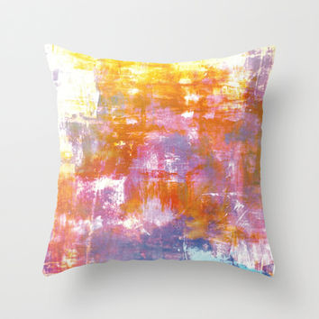 OFF THE GRID 3 Colorful Pastel Neon Purple Rust Yellow Abstract Watercolor Acrylic Textural Painting Throw Pillow by EbiEmporium