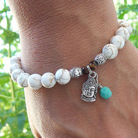 Inner Peace - White Magnesite Meditation Stretch Bracelet