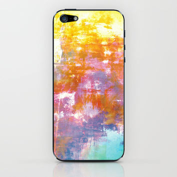 OFF THE GRID 3 Colorful Pastel Neon Purple Rust Yellow Abstract Watercolor Acrylic Textural Painting iPhone & iPod Skin by EbiEmporium