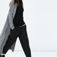 Long cardigan with pockets and slits