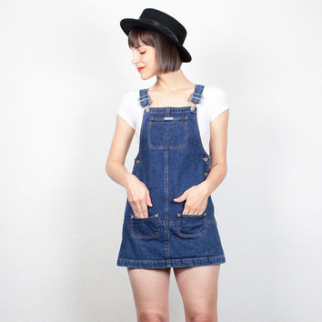 Vintage CALVIN KLEIN Overalls Dress 1990s Dress 90s Dress Soft Grunge Dress Denim Dress Micro Mini Dress Dungarees Jumper P XS Extra Small
