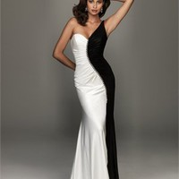 One-shoulder sweep train satin black/white mermaid Prom Dresses 2012 PDM348