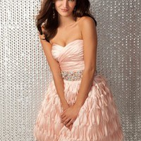 Straplesse sweetheart beaded sash short pink Prom Dresses 2012 PDM358