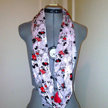 Disney Mickey & Minnie Mouse, Infinity Scarf, Circle Scarf, Black, White, Red, Disneyland Accessory, Scarf,Gift,Present