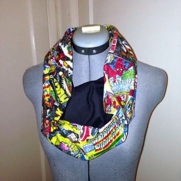 Marvel Comics Infinity Scarf,Spiderman,Captain America,Hulk,Iron Man,Wolverine,Thor,X-Men, Geek Super Hero Circle Scarf, Geek Chic, Geekery
