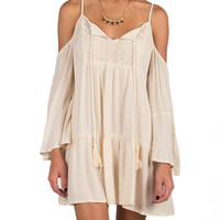 Boho Cold Shoulder Tunic Dress - Cream - Medium - Cream /