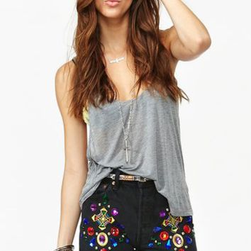 Jeweled Cutoff Shorts
