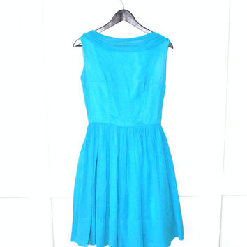 vintage 1950s dress / electric blue 50s vintage NEW LOOK turquoise chiffon party dress / small
