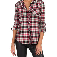 BLACK, WHITE, AND RED ALL OVER FLANNEL - RED/GRAY