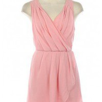PINK LOVELY CHIFFON PLEAT CROSSBACK DRESS @ KiwiLook fashion