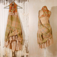 Woodland dress Bohemian wedding dress Babydoll dress Gingham dress Fairy dress Tattered dress Hippy boho dress dress Green plaid