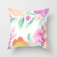 Fall Floral Bouquet (Pink+Purple) Throw Pillow by Hello Monday