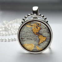 Round Glass Bezel Photo Art Pendant Map Pendant Map Necklace With Silver Ball Chain (A3337)