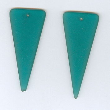 Set 2 Peacock Blue Triangle Sea Glass Pendant Bead 21x49mm
