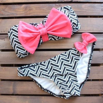 tribal chevron neon pink bow bikini bowkini swimsuit bathing suit swimwear