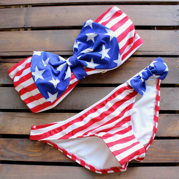 american flag dream bow bikini bowkini swimsuit 4th of july fourth of july memorial weekend bathing suit