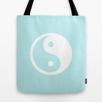 Turquoise Aqua Blue Harmony Yin Yang Tote Bag by BeautifulHomes