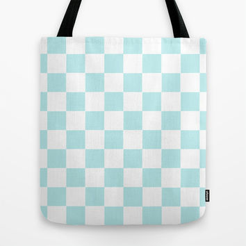 Turquoise Aqua Blue Checkers Tote Bag by BeautifulHomes