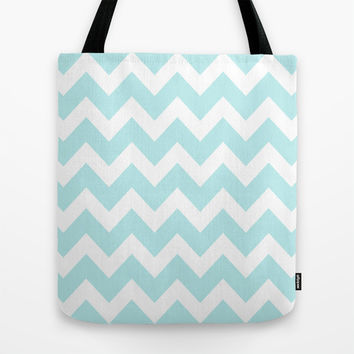 Turquoise Aqua Blue Chevron Tote Bag by BeautifulHomes