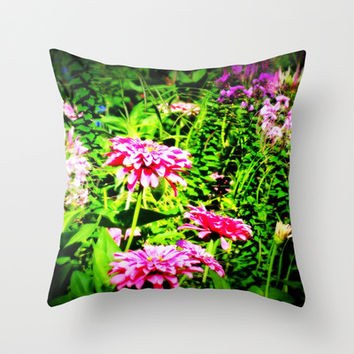 Bright Flowers Throw Pillow by 2sweet4words Designs | Society6